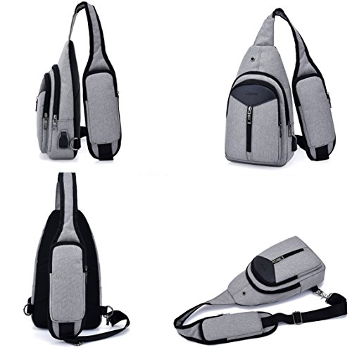 For Bags Backpack Women Daypack Chest Bag Sxelodie Sling Rope Shoulder Usb With Crossbody amp; Men Port Gray Charging RwOXfq0