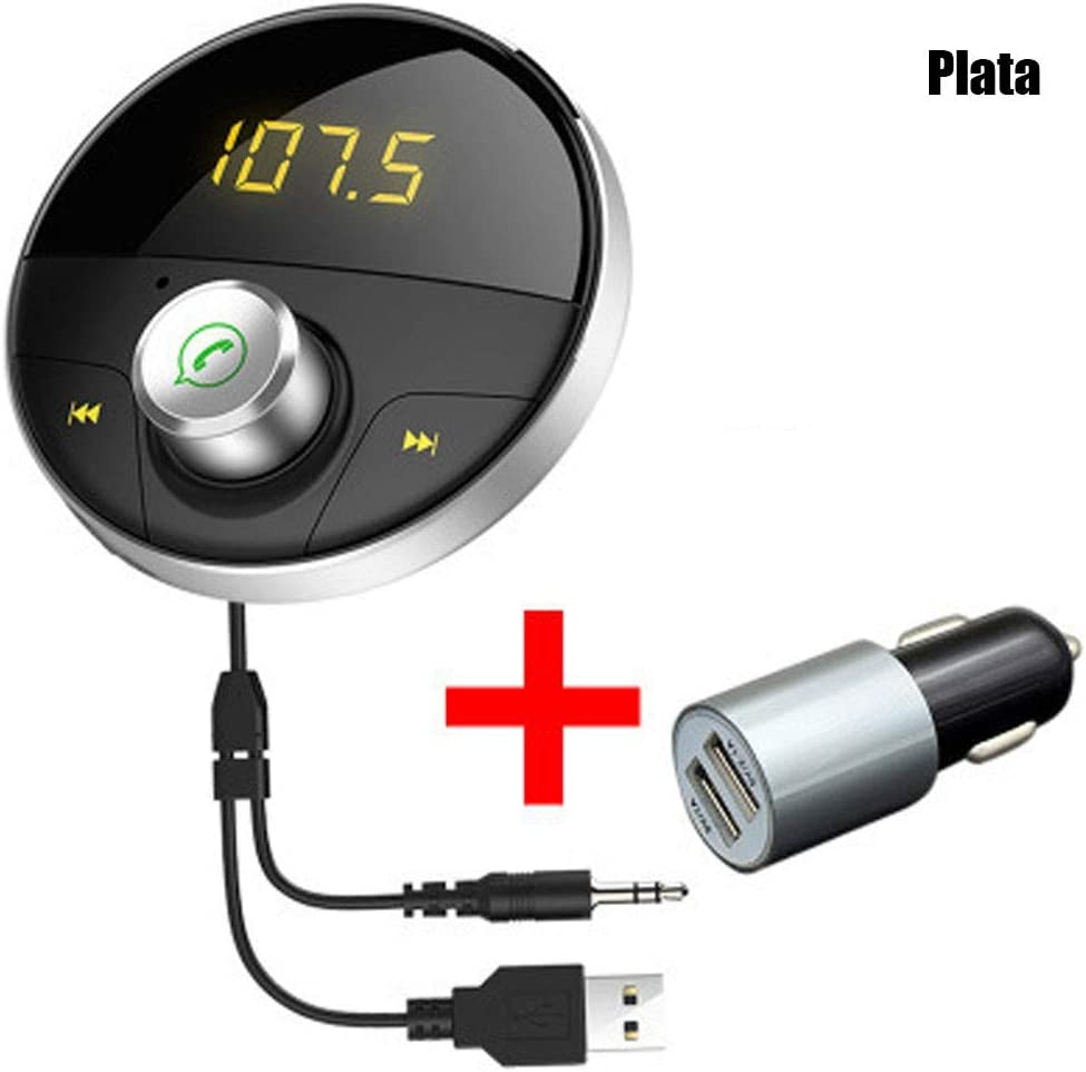 ZXZXZX Transmisor FM Bluetooth, MP5 con Base de Adsorción Magnética, Compatible con Varias Aplicaciones, Operación con un Solo Botón, Adecuado para Automóviles de 12V-24V