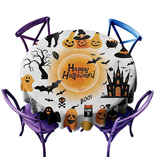 Zodel Washable Round Tablecloth,Halloween All Hallows Day Objects Haunted House Owl and Trick or Treat Candy Black Cat,for Banquet Decoration Dining Table Cover,40 INCH,Orange Black -