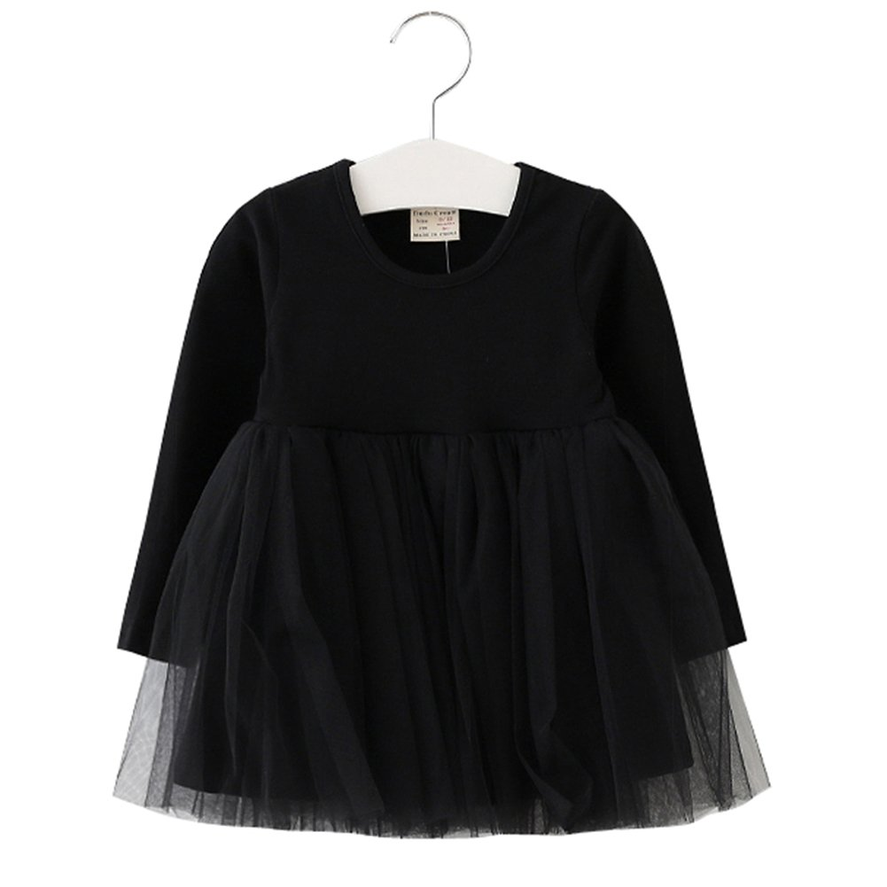 XUNYU Baby Girls Toddler Tutu Dress Long Sleeve Pink Infant Children Clothes Party Wear Pleated Tops