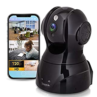 SereneLife Wireless HD Cloud Cam - Network Security Indoor Home Video Monitoring Surveillance - WiFi IP Cam w/ Motion Detection, Night Vision, PTZ, 2 Way Audio - For iPhone Android - IPCAMHD80,black