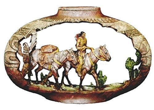 PS 12 Inch Pottery Carving Native American Pack Horses ()
