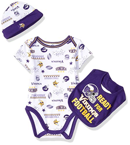 Cap Minnesota Set Vikings - NFL Minnesota Vikings Unisex-Baby Bodysuit, Bib & Cap Set, Purple, 0-3 Months