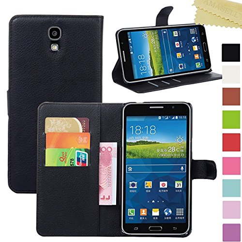Samsung Galaxy Mega 2 Case, AMASELL PU Leather Wallet Flip Open Pocket ID Credit Card Holders / Cash Slots Case Cover for Samsung SM-G750F, Samsung SM-G7508Q, Black