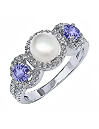 1.40 Ct Round Cultured Freshwater Pearl Blue Tanzanite 925 Sterling Silver Ring