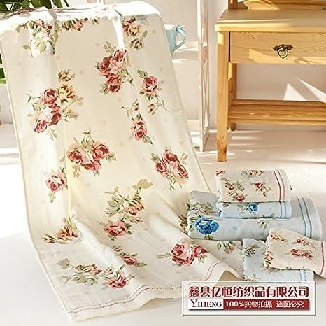 ZYZX Toallas de baño de algodón Estampado de Telas de Gasa Gruesa Toalla de baño Toallas Toallas de Playa -70 * 140cm Las Rosas Son Rojas: Amazon.es: Hogar