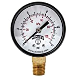 "Winters PEM Series Steel Dual Scale Economy Pressure Gauge, 0-15 psi/kpa, 2"" Dial Display, +/-3-2-3% Accuracy, 1/4"" NPT Bottom Mount"