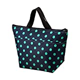 Printing Lunch Bags, Arricastle Oxford Cloth Aluminum Foil Insulated Zip Cooler Bag Portable Takeaway Aluminum Film Pack Cooler Bag Lunch Box Package (Small Green Dots)