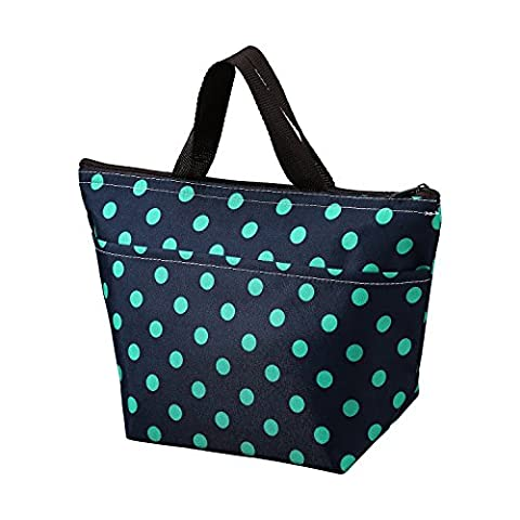 Printing Lunch Bags, Arricastle Oxford Cloth Aluminum Foil Insulated Zip Cooler Bag Portable Takeaway Aluminum Film Pack Cooler Bag Lunch Box Package (Small Green - Dots Personalized Lunch Box