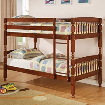 creekside twin over twin bunk bed with builtin ladder finish medium pine