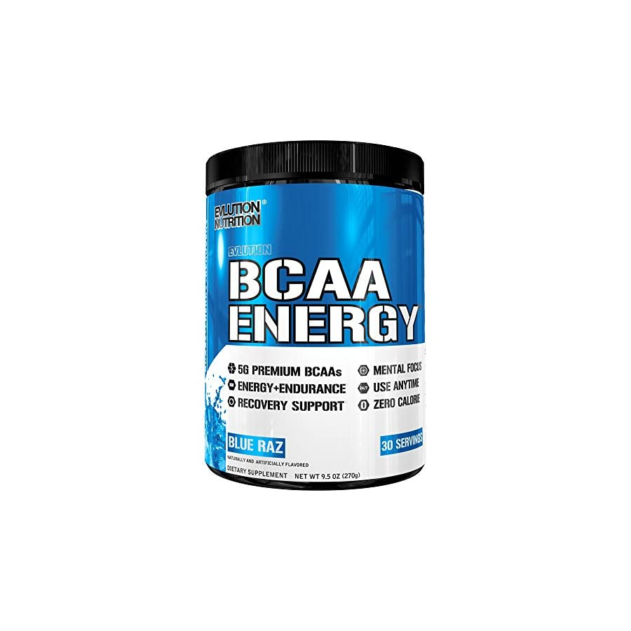 Evlution Nutrition BCAA Energy High Performance, Energizing Amino Acid Supplement for Muscle Building, Recovery, and Endurance, Blue Raz
