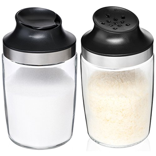 Sugar Dispenser & Grated Cheese Shaker Set By Kitchen De Lujo - BPA Free, Clear Glass Body Jar & Tightly Sealing Stainless Steel Ring - Containers Ideal For Pepper, Spices, Parmesan & More - Set of 2