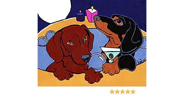 13x19 CHIHUAHUA HOT TUB Martini Signed Dog Art PRINT of Original Painting VERN