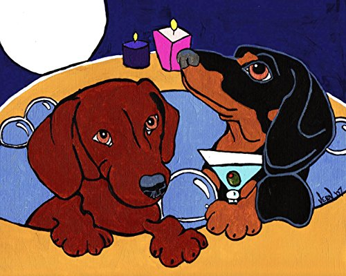 Dachshund Dogs in Hot Tub Signed Art Print of Original Artwork Acrylic Painting