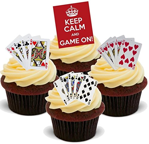 12 x Keep Calm Game On Playing Cards Mix Poker Casino Gambling - Fun Novelty Birthday PREMIUM STAND UP Edible Wafer Card Cake Toppers Decoration