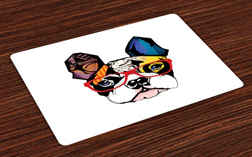 (Lunarable Art Place Mats Set of 4, French Bulldog Portrait with Hipster Glasses Abstract Modern Colorful Ears and Eyes, Washable Fabric Placemats for Dining Table, Standard Size, Yellow)