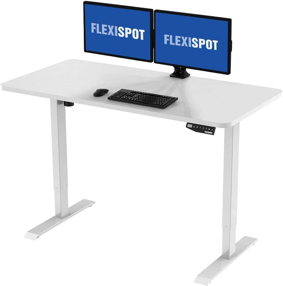 "Flexispot Electric Stand Up Desk Workstation with Desktop, 48 x 30 Inches, Ergonomic Memory Controller Standing Desk Height Adjustable (White Frame + 48"" White Top)"