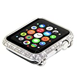 Leotop Compatible with Apple Watch Case 38mm, Metal Bumper Protective Cover Frame Accessories Women Girl Bling Shiny Rhinestone Diamond Compatible iWatch Series 3/2/1 (Luxury A+ Silver, 38mm)