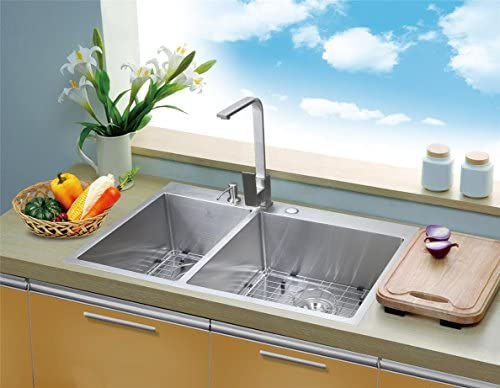 Starstar 33 Top-mount 40 60 Double Bowl Kitchen Sink Drop-in 304 Stainless Steel 16 Gauge with Accessories