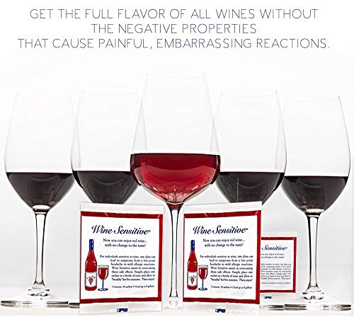 NEW Organic Wine Allergy Sensitivity Prevention Wine Sulfite Remover with All Natural Ingredients Better Than Hangover Prevention Remedies & Wine Filters Stops Red Wine Headaches Nausea IBS (18 Packs) by Wine Sensitive (Image #3)