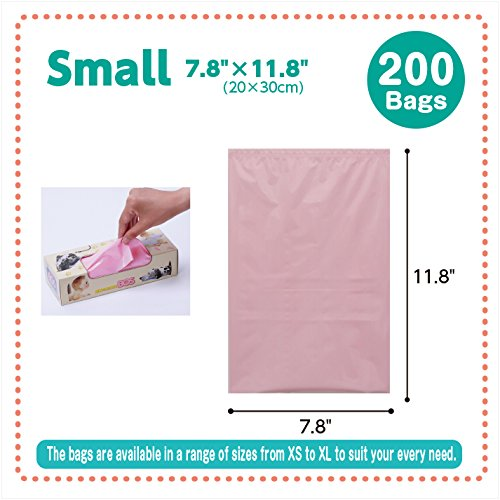 BOS, Amazing Odor-sealing Disposable Bags (200 Bags) [Size:S, Color:Pink]