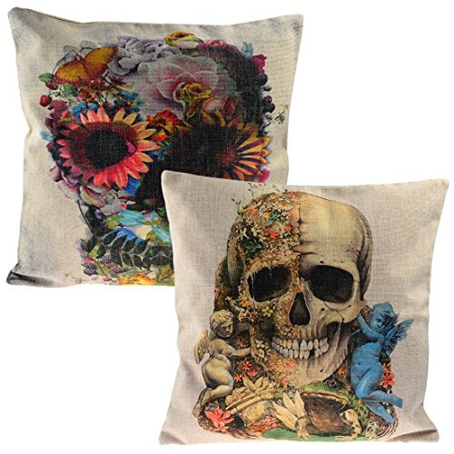 Set of 2 Sofa Pillow Cover, YIFAN Pillowcase Chair Pad Pouch Throw Pillowslip for Home Office Christmas Party Decor-Gothic Skeleton Punk Style