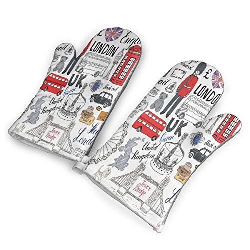 Love London Bus Telephone Booth Cab Heat Resistant to 500?? F,1 Pair of Non-Slip Kitchen Oven Gloves for Cooking,Baking,Grilling,Barbecue Potholders Oven Mitts Set