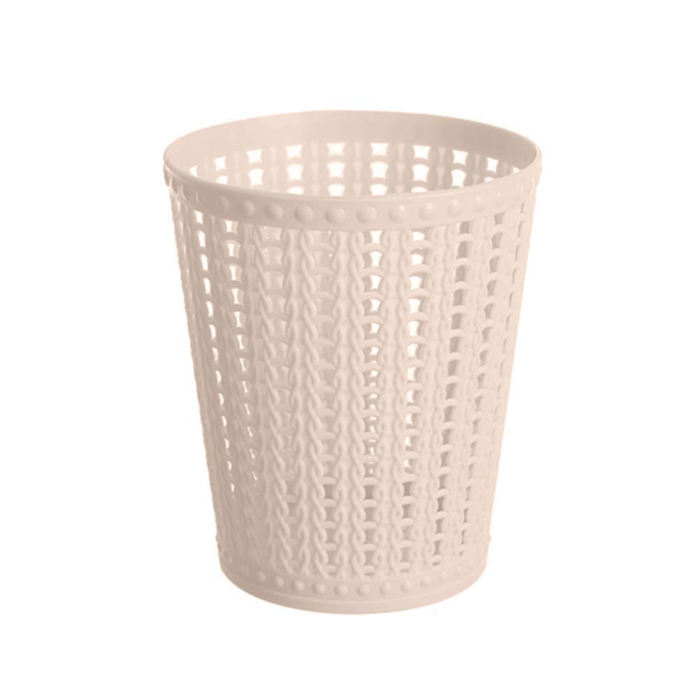 Himpokejg Mini Portable Desktops Trash Can Garbage Basket Kitchen Living Room Car Beige