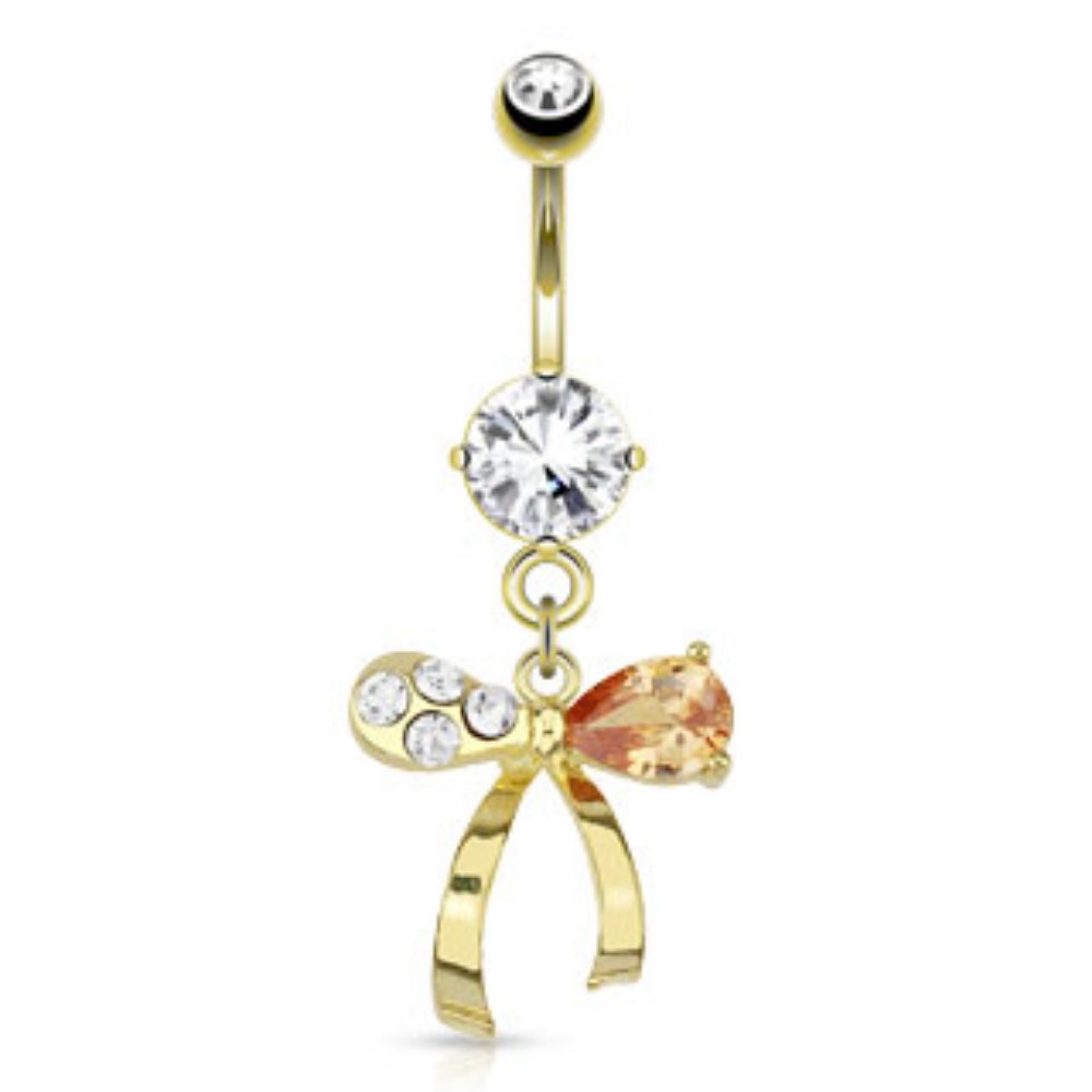 Ribbon Clear /& Topaz Gems Freedom Fashion 316L S Steel Gold Plated Navel Ring