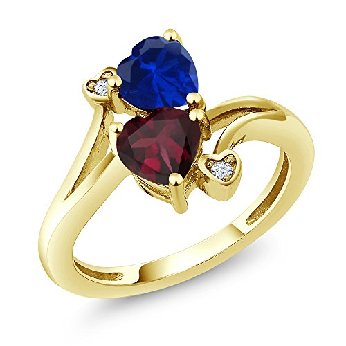 Gold Red Ring Sapphire (Red Rhodolite Garnet and Blue Simulated Sapphire 10K Yellow Gold Women's Ring (1.55 Ctw Available in size 5, 6, 7, 8, 9))