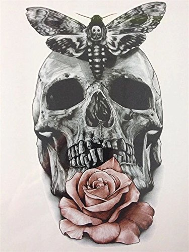 600ae4473 Waterproof Temporary Tattoos Stickers Rose skull and Butterfly Tattoo Flash  Water Transfer Tattoos fake tattoos for women men: Amazon.in: Beauty