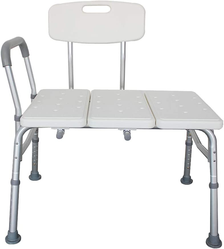 Byya Transfer Bench, Adjustable Height Shower Chair Seat Bench Transfer Bench with Arms and Backs,3 Blow Molding Plates Aluminum Alloy Shower Lift Chair for Seniors Elderly
