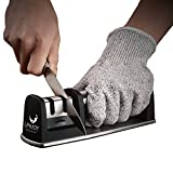 cutco knife sharpener - Unijoy UKS01 Kitchen Knife Sharpener with Cut Resistant Glove | 2-Stage Professional Knife Sharpening Kit in Outdoor Camping Military Tactical Survival | Stainless Steel Chef Knife Sharpener