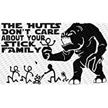 "Star Wars The Hutts Don't Care About Your Stick Figure Family Rancor Monster Vinyl Decal (18"" Inch, Black)"