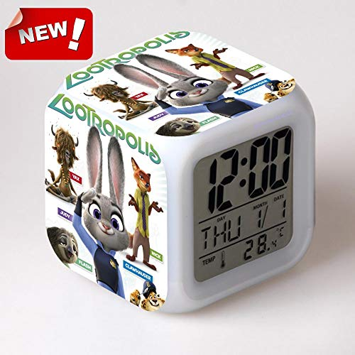Amazon.com: HOKUGA: Clock Zootopia Electronic Desk Digital 7 Color Change Horse Desk Watch Relogio De Mesa Wake Up Light Plastic Reloj Zootropolis: Office ...