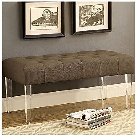 Hamilton Contemporary 40 Inch Wide Bench In Brown Fabric