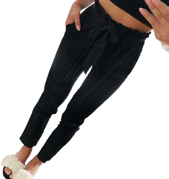 SALUCIA Sommerhose Damen Paperbag Hose High Waist 78 Slim