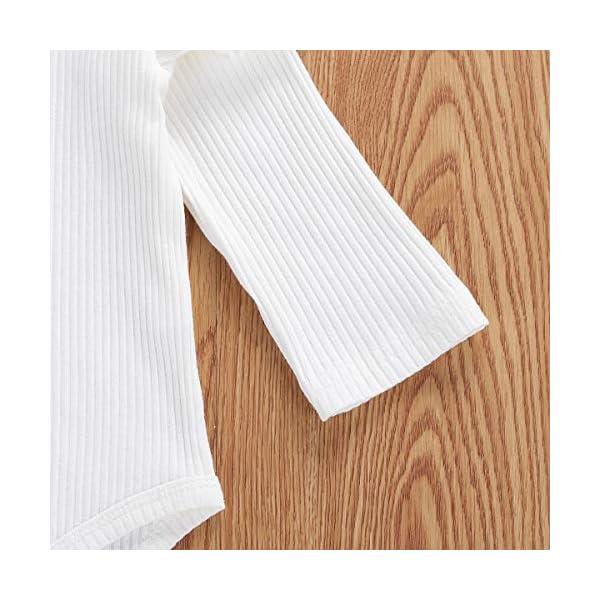 Geagodelia 3 Pezzi Completo Neonata Pagliaccetto Bianco a Maniche Lunghe +Pantaloncini a Quadri +Fascia per Capelli… 4