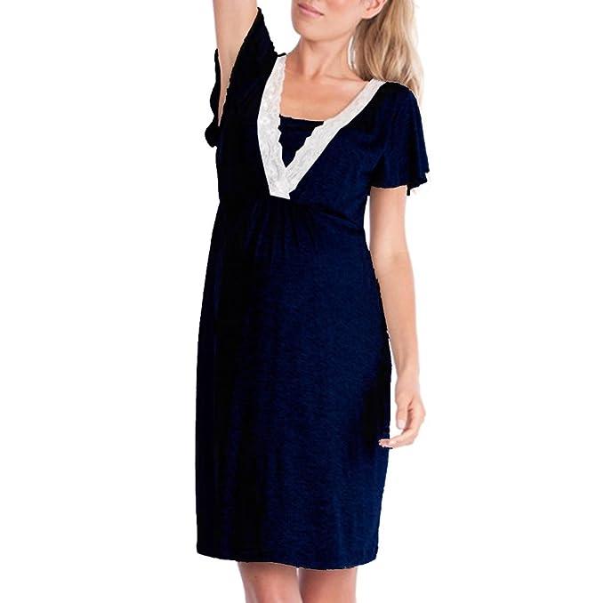 Camisa De Lactancia Vestido De Cuello En V Ocasional Ropa De Dormir De Las Mujeres Estiramiento Maternidad Camisón Mangas Cortas Vestido De Enfermería: ...
