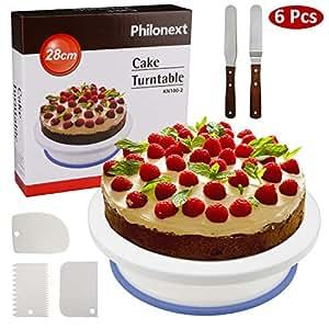 Philonext 10.8 '' Plato Giratorio para Tartas, 3 Pcs Peines de repostería para decorar + 2 Pcs Espátulas de repostería para frosting