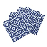 Roostery Mosaic Tile Linen Cotton Dinner Napkins Mosaic - Deep Blue by Inscribed Here Set of 4 Cotton Dinner Napkins Made