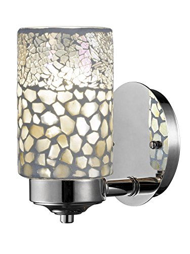 Brushed Nickel and Earth Tones Alps Mosaic Glass Wall Sconce