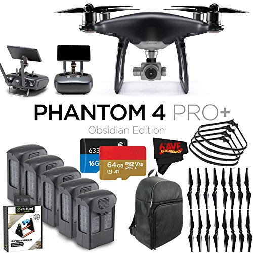 DJI Phantom 4 Pro+ Obsidian Edition Quadcopter + 5 Batteries + 16 Propellers Bundle