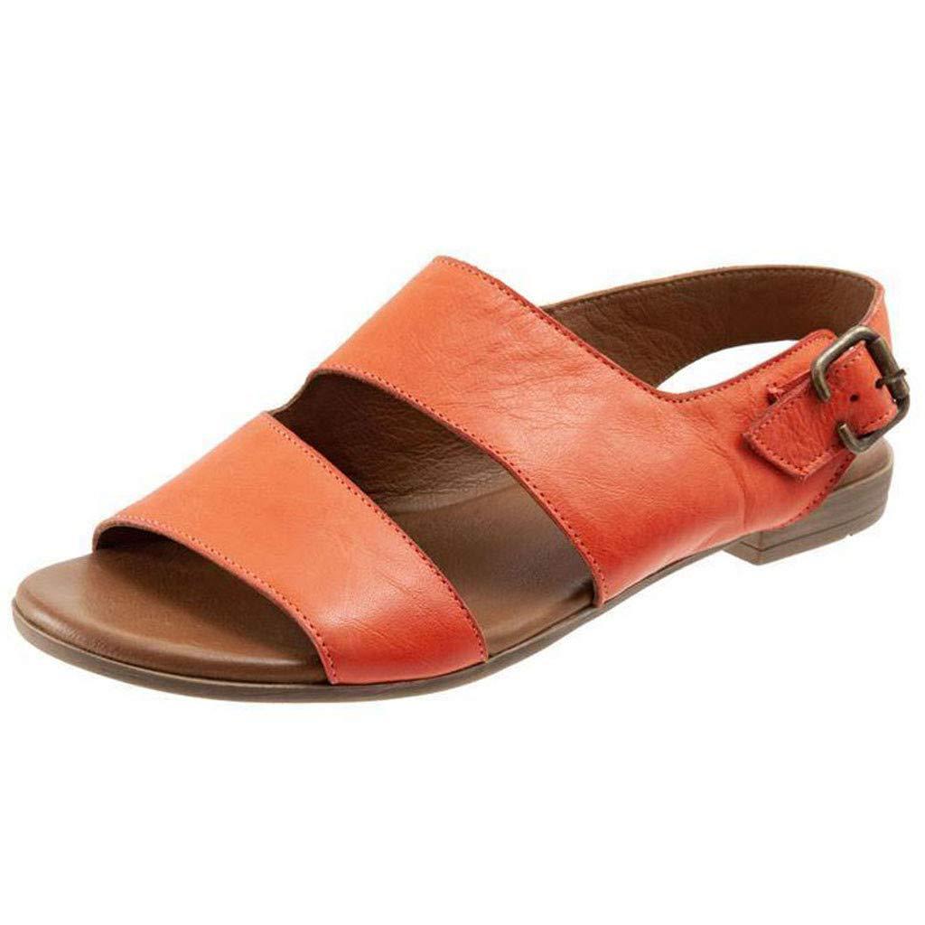 2019 Fashion Summer Hot Women's Sandals Retro Buckle-Strap Sandals Flat Bottom Roman Ladies Shoes (Orange, 6)