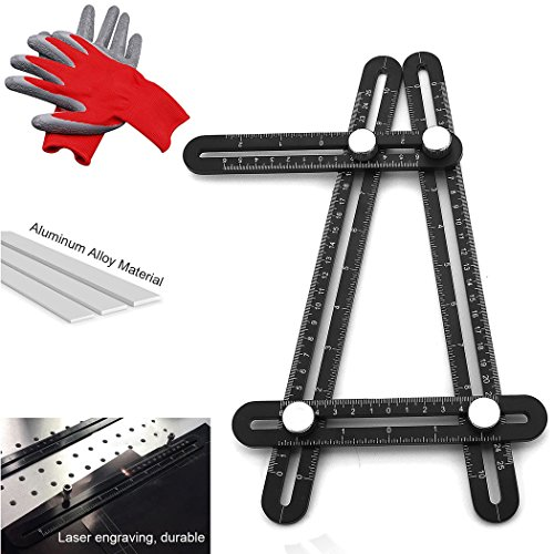 Measuring Angleizer Template Tool - Fuqun Premium Aluminum Alloy Foldable Multi Angle Ruler for Carpenters DIY Tile Woodworking Floor - Rugged, equipped with tool gloves from FUQUN
