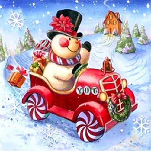 Diy 5D Diamond Painting by Number Kit, Driving Christmas Snowman?Crystal Rhinestone Arts Craft Supply Canvas Wall Decor