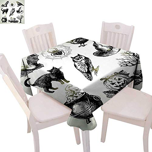 cobeDecor Vintage Halloween Customized Tablecloth Halloween Related Pictures Drawn by Hand Raven Owl Spider Black Cat Tablecloth That can be Used as a Tapestry 60