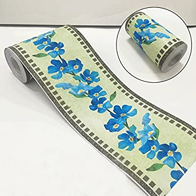 SimpleLife4U Blue Floral Peel and Stick Wallpaper Border Roll Waterproof PVC Wall Art for Kitchen Bed Room