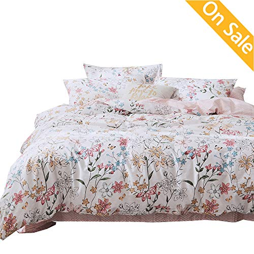 AMZTOP 【Newest Arrival】 Duvet Cover Floral Cotton Girls Duvet Cover Set Queen Kids Duvet Cover 3 Pieces Blossom Flower Duvet Cover Bedding Set Full Chic Soft with Zipper Ties,NO Comforter NO Sheet