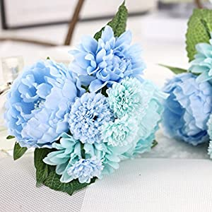 DZT1968 1 Bouquet Artificial Fake Dahlia Peony Bunch Simulation Flower Bridal Hydrangea Home Wedding Garden Decor 8